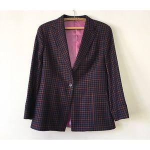 Vintage 80s Bespoke Plaid Wool Blazer